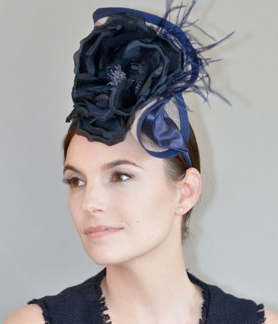 Kentucky Derby Hat. Derby fascinator Hat, Taupe & Navy Hat. Wedding Hat. Formal Hat, Ladies Taupe Hat, Special Occasion Hat. Royal Ascot Hat