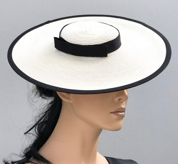 Kentucky Derby Hat, Black and White Boater Hat, Women's Derby Hat, Ladies Boater Hat, Women's Boater Hat, Royal Ascot Hat, Wide Brim Hat