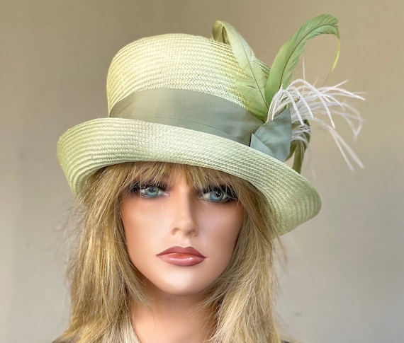 Women's Top Hat, Women's Kentucky Derby Hat, Wedding Hat, Ladies Formal Green Straw Hat, Special Occasion Hat, Formal Hat