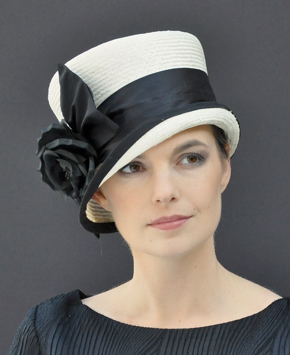 Wedding Hat, Ladies Black and Ivory White Hat, Formal Hat, Church Hat, Dressy Hat