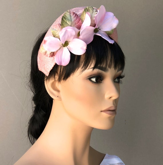 Pink Crown Halo Hat. Wedding Hat, Women's Fascinator Hat, Duchess Kate Hat, Pink Headband Hat, Flower Crown, Royal Ascot Hat