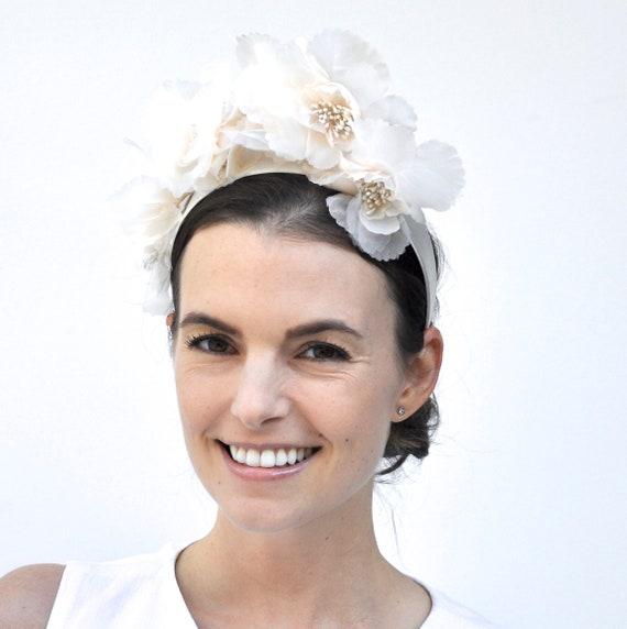 Flower Crown, Flower Headpiece, Bridal Headpiece, Kate Middleton Hat, Ivory Cream Flower Headband, Flower Headband Hat, Flower Fascinator