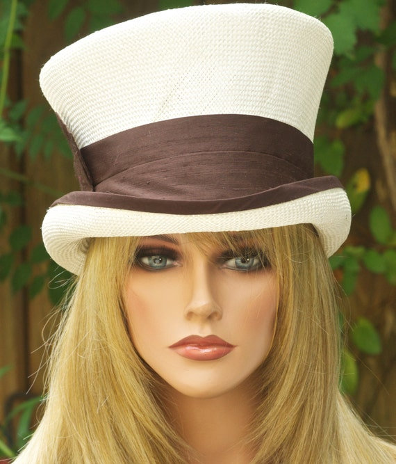 Women's Top Hat, Derby Hat, Wedding Hat, Mad Hatter, Ascot hat, Brown and Ivory Hat, Ladies Formal Hat,
