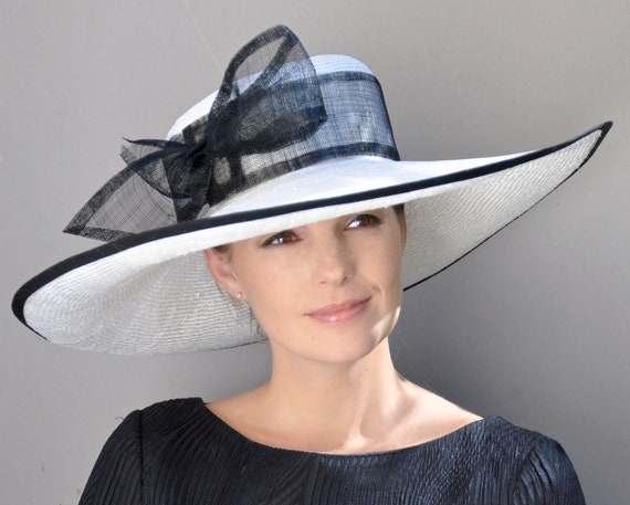 Kentucky Derby Hat, Wedding Hat, Formal Hat. Ladies Black and White Hat, Church Hat, Dressy Hat, Wide Brim Hat