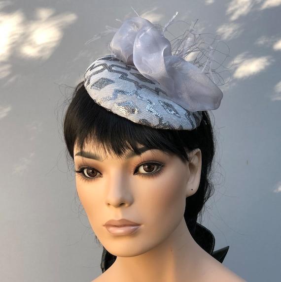 Wedding Hat, Silver Gray Cocktail Hat, Kentucky Derby Hat, Women's Fascinator Hat, Silver Gray Fascinator