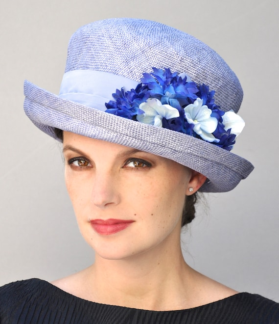 Kentucky Derby Hat, Womens Ladies Blue Hat, Wedding Hat, Formal Hat with Flowers, Tea Party Hat, Garden Party Hat