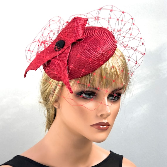 Wedding Hat, Red Formal Hat, Women's Fascinator Hat, Kate Middleton Hat, Dressy Hat, Red Cocktail Hat, Duchess Kate Hat