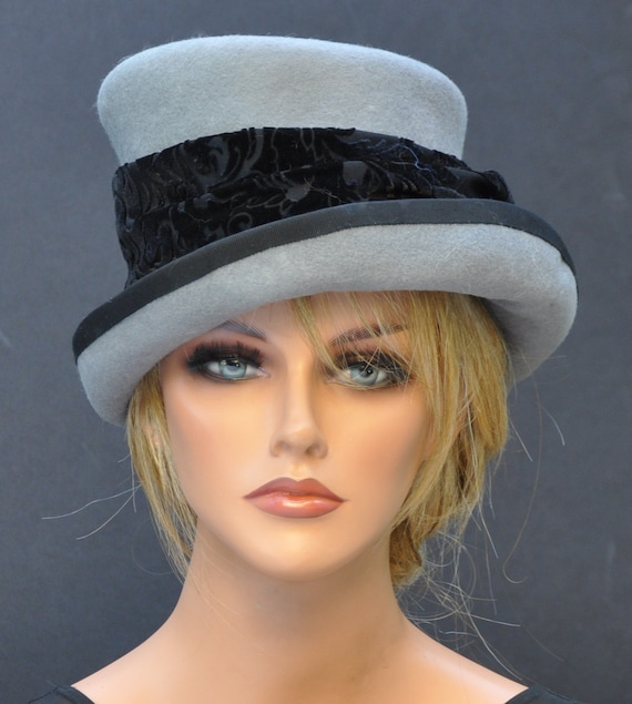 Ladies Gray Hat, Formal Winter Hat, Women's Gray Wool Felt Hat, Gray Top Hat