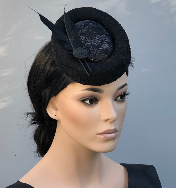 Black Formal Cocktail Hat, Ladies Black Percher Pillbox Hat, Kentucky Derby Hat, Pillbox Hat, Royal Hat