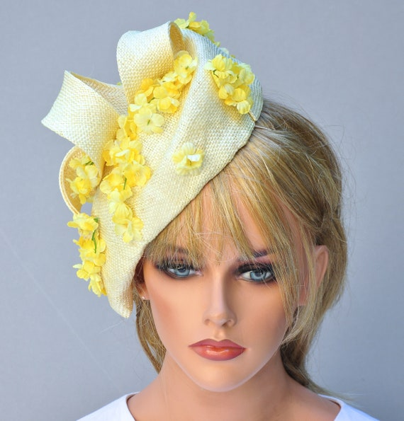 Wedding Hat, Kentucky Derby Hat, Ladies Yellow Hat, Women's Easter Hat,