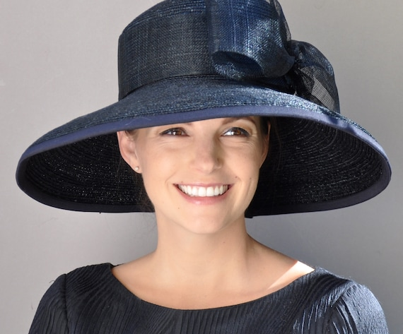 Ladies Black Hat, Ladies Navy Hat, Kentucky Derby Hat, Formal hat, Wedding Hat, Funeral Hat, Ascot Hat, Audrey Hepburn Hat, Wide Brim Hat