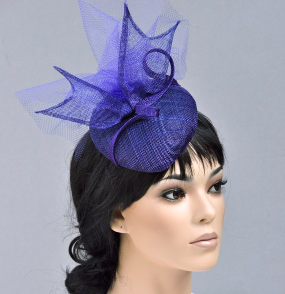Women's Fascinator Hat, Wedding Hat, Kentucky Derby Hat, Ladies Formal Hat, Purple Fascinator Hat, Royal Ascot Hat, Teardrop Percher Hat,