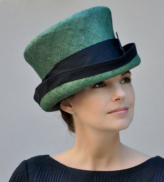 Ladies Green Formal Hat, Special Occasion Hat, Mad Hatter, Green Top Hat, Irish Green Hat, Downton Abbey Hat, Formal Hat