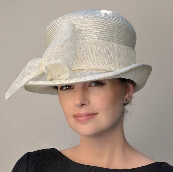 Wedding Hat, Formal Hat, Derby Hat, Dressy Hat, Ladies Cream Hat, Woman's Cream Hat, Church Hat