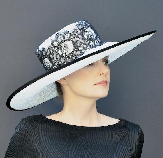 Formal hat, Wide Brim Hat, Ascot Hat, Black and White Hat, Dressy Hat, Derby Hat, Wedding Hat, Occasion Hat