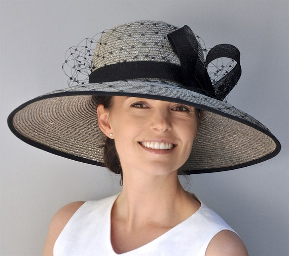 Kentucky Derby Hat Wedding Hat Audrey Hepburn Hat Ladies Formal Hat Women's Taupe Hat Church Hat Special Occasion Hat Ascot hat