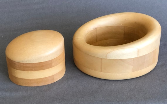 Wooden Millinery Hat Block, Fascinator Hat Block, Two Piece Oval Hat Block, Wood Hat Making Block