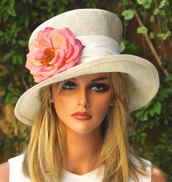 Wedding Hat, Kentucky Derby Hat, Ladies Straw Formal Hat, Women's Formal Hat, Mad Hatter, Occasion Hat, Garden Party Hat