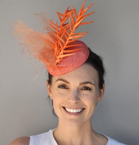 Kentucky Derby Hat, Royal Ascot Hat, Derby Fascinator Hat, Orange Fascinator, Formal Orange Hat, Cocktail Hat
