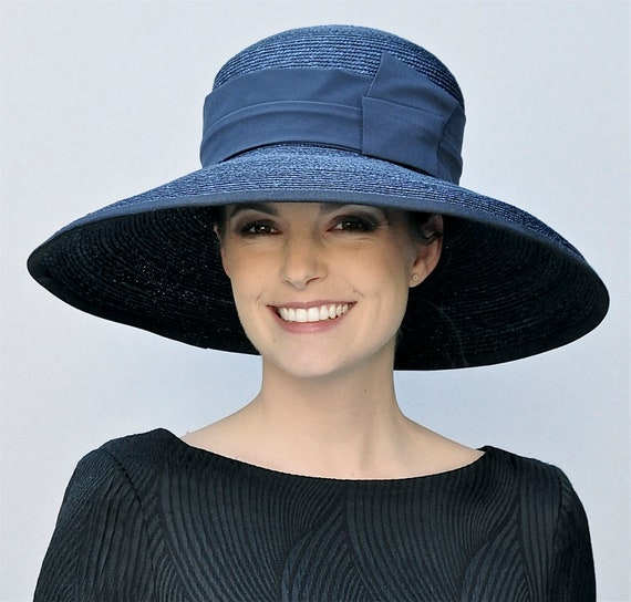 Wedding Hat, Church Hat, Audrey Hepburn Hat, Ladies Navy Hat, women's formal navy hat, Occasion Hat, Wide brim hat, big hat