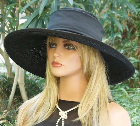 Women's Black Hat, Ladies Black Hat, Black Wide Brim Hat, Funeral Hat