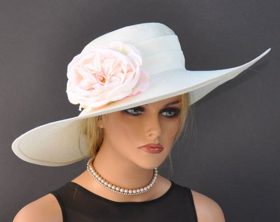 Wedding Hat, Wide Brim Hat, Derby Hat for Women, Church Hat, Occasion Hat, garden party hat