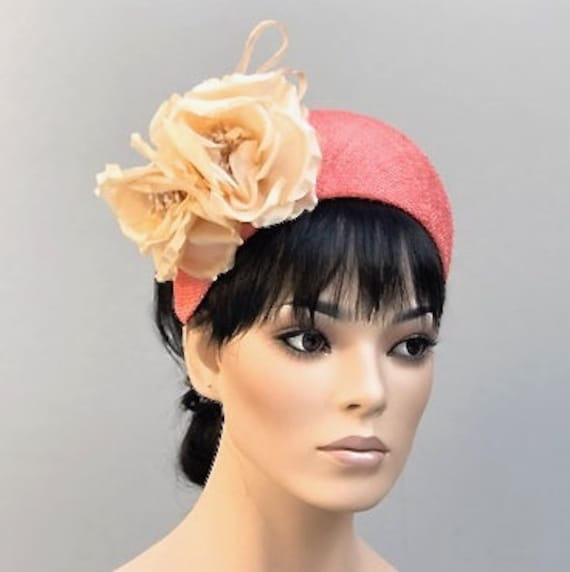 Kate Middleton Hat, Flower Crown, Headband Hat, Crown Halo Headpiece, Ladies Women's Coral Hat, Formal Hat, Ascot Hat, Cocktail Hat