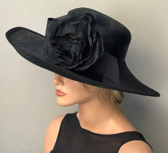 Kentucky Derby Hat, Women's Black Hat, Ladies Formal Hat, Wedding Hat, Funeral Hat, Dressy Hat, Elegant Hat, Occasion Hat