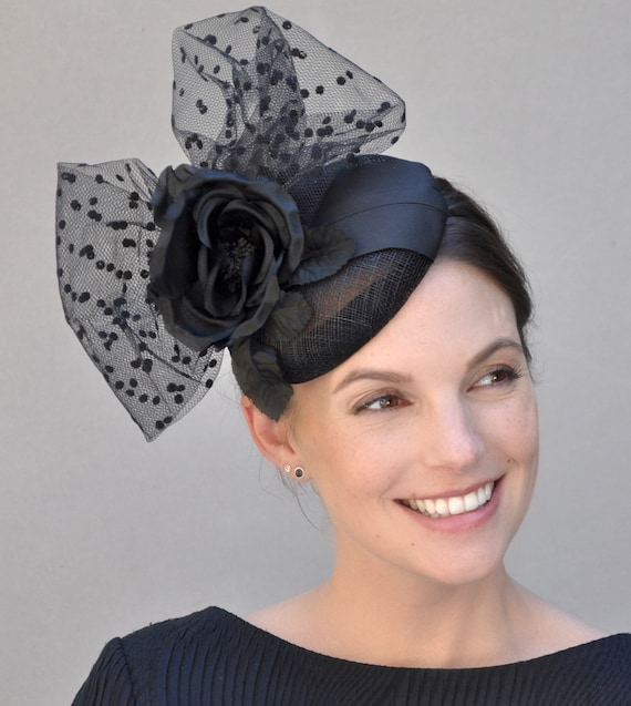 Black Fascinator, Ladies Black Hat, Cocktail Hat, Formal Hat, Fascinator, Fascinator Hat, Pillbox Hat, Percher