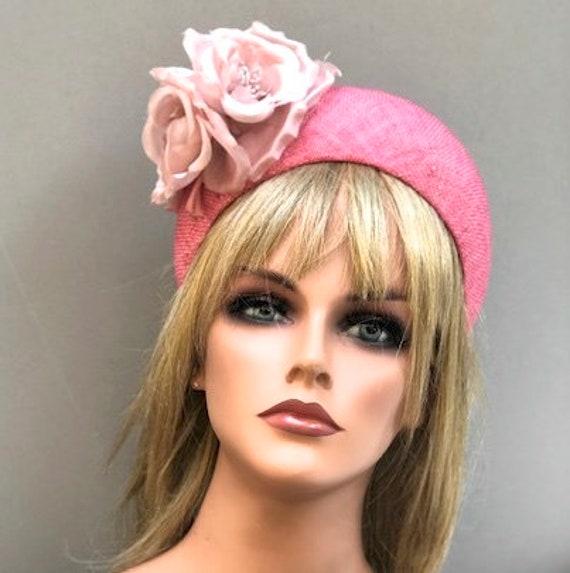 Pink Halo Crown Hat, Kate Middleton Hat, Royal Ascot Hat, Wedding Hat, Flower Crown, Formal Headband Hat, Pink Derby Hat,