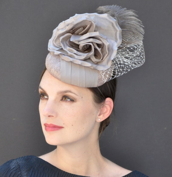 Fascinator Cocktail Hat, Taupe Gray Fascinator, Wedding Fascinator Hat, Wedding Hat, Derby Hat, Formal hat, Occasion Hat