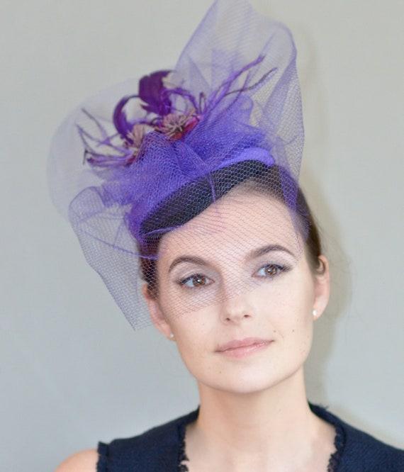 Kentucky Derby Hat, Purple Fascinator, Church Hat, Formal Hat, Wedding Hat, Fascinator Hat