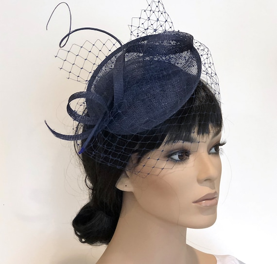 Kentucky Derby Fascinator Hat, Women's Fascinator Hat, Women's Navy Fascinator Hat. Wedding Hat. Ladies Formal Hat, Special Occasion Hat