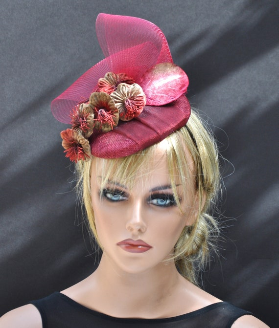 Ladies Red Fascinator Hat, Kentucky Derby Hat, Wedding Hat, Wedding Fascinator, Cocktail Hat, Red Fascinator,
