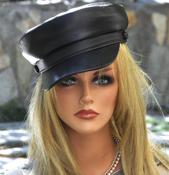 Black Leather Cap, Motorcycle Cap. Men's Black Leather Cap, Women's Black Leather Cap, Black Hat, Biker Cap, Real Leather Cap