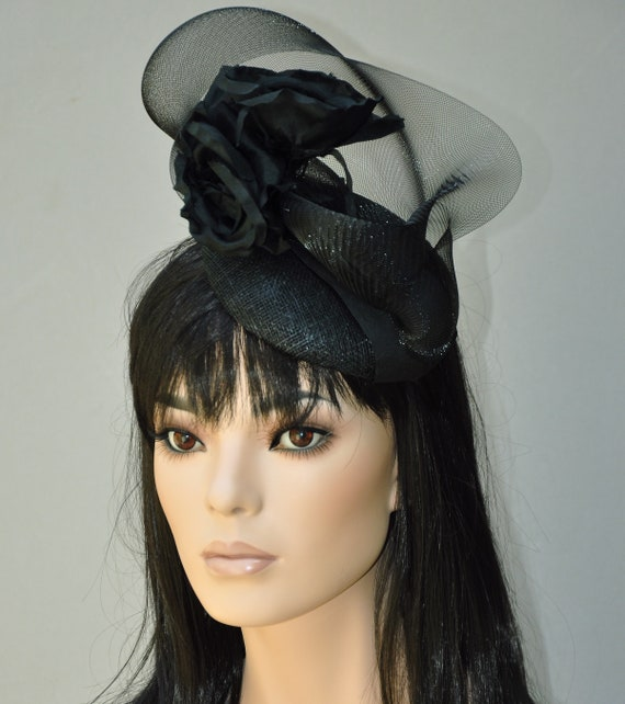 Ladies Black Hat, Women's Black Hat, Elegant Hat, Church Hat, Dressy Hat, Cocktail Hat, Royal Ascot Hat, Formal Hat,,Special Occasion Hat