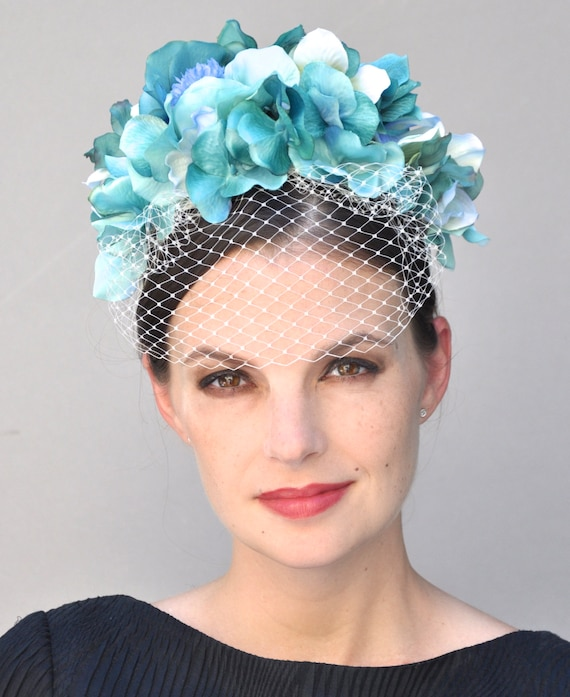 Wedding hat, formal hat, Turquoise Fascinator, church hat, blue fascinator, occasion hat, Flower Crown