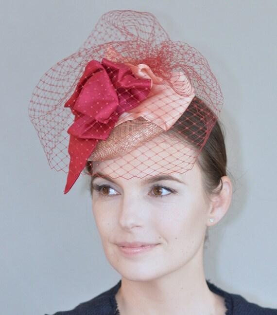 Cocktail Hat & Veil, Ladies Hat and Veil, Wedding Hat, Kentucky Derby Hat, Royal Ascot Hat, Fascinator Hat, Percher