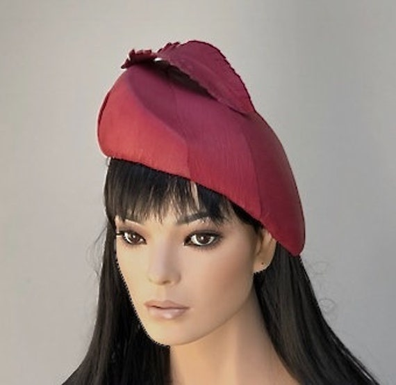 Women's Leather Dress Hat, Ladies Formal Leather Hat, Kate Middleton Hat, Claret Red Hat, Duchess of Cambridge Hat, Special Occasion Hat
