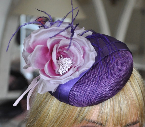 Ladies Purple Fascinator Hat, Wedding Hat, Women's Fascinator Hat Cocktail Hat, Kentucky Derby Hat, Wedding Fascinator, Formal Occasion Hat