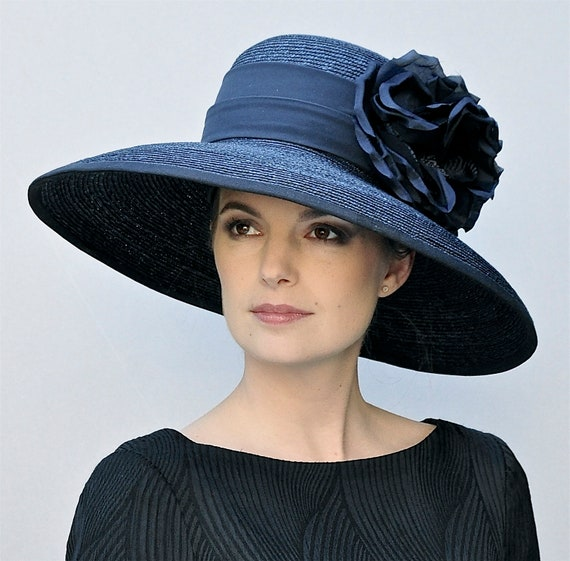 Wedding Hat, Audrey Hepburn Hat, Ascot Hat, Navy hat, Big Hat, Occasion Hat, Ladies Navy Hat, Church Hat