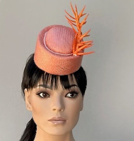 Melbourne Cup Hat, Orange Percher Hat, Spring Carnival Headpiece, Formal Orange Hat Royal Ascot hat