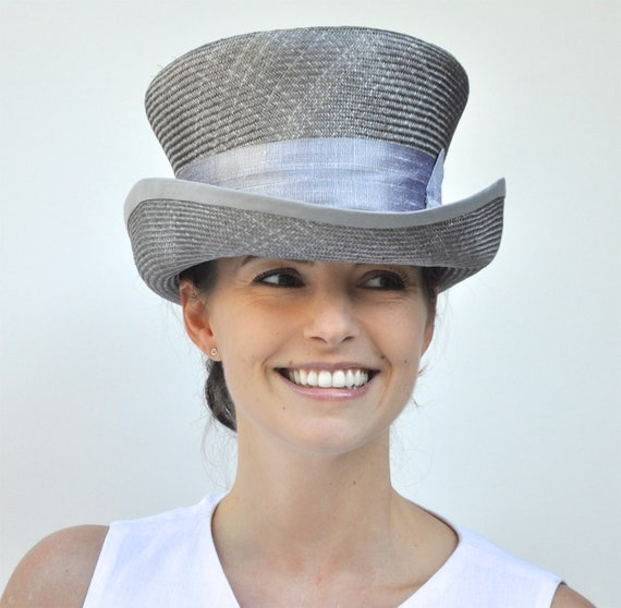 Wedding Hat, Derby Hat, Kentucky Derby hat, Gray Top Hat. Church Hat, Gray Straw Top Hat