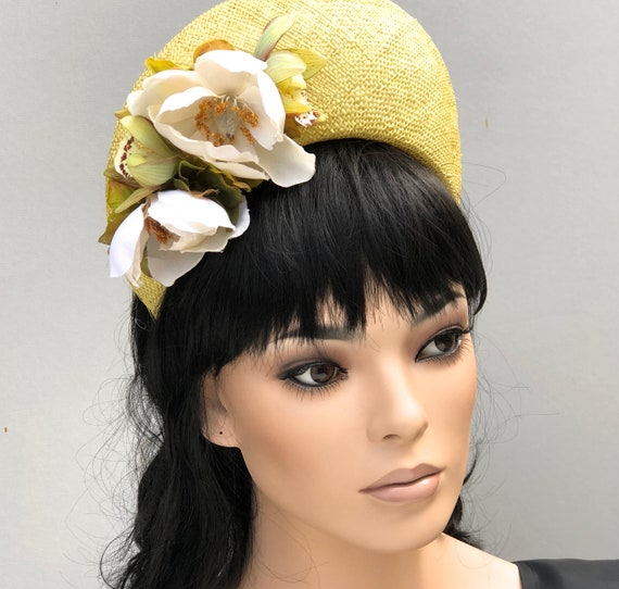 Ladies Yellow Hat, Crown Halo Headpiece, Fascinator Hat, Wedding Hat, Women's Yellow Formal Hat,