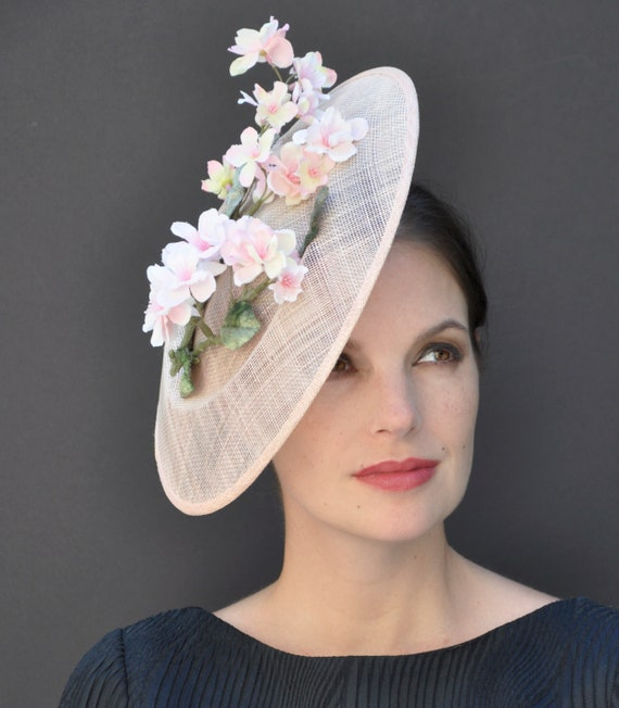 Wedding Hat, Kentucky Derby Hat, Formal Hat, Saucer Hat, Dressy Hat, Garden Party Hat, Tea Party Hat, Ladies Peach Hat, Dressy Hat