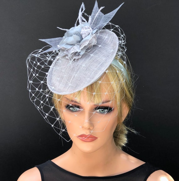 Kentucky Derby Hat, Gray Wedding Hat, Ladies Gray Derby Hat, Royal Ascot Hat, Duchess Hat Saucer Hat,