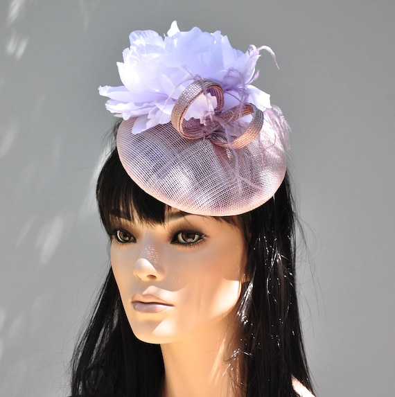 Women's Mauve Lilac Fascinator Hat, Pillbox Hat, Wedding Hat, Tea Party Hat, Ladies Lilac Hat, Special Occasion Hat