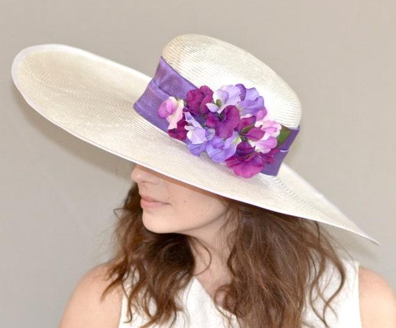 Wide Brim Kentucky Derby Hat Wedding Church Hat Special Occasion Hat Ascot hat