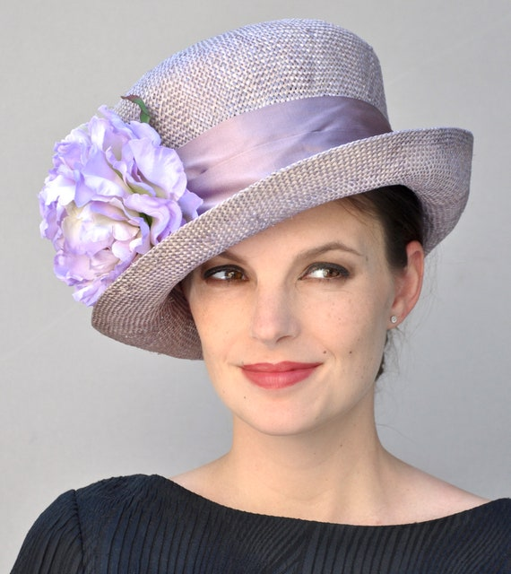 Wedding Hat, Kentucky Derby Hat, Formal Straw Hat, Lavender Hat, Church Hat, Tea Party Hat