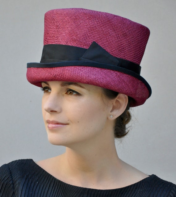 Ladies Red Hat, Kentucky Derby Hat, Formal Hat, Red Top Hat, Women's Red Hat